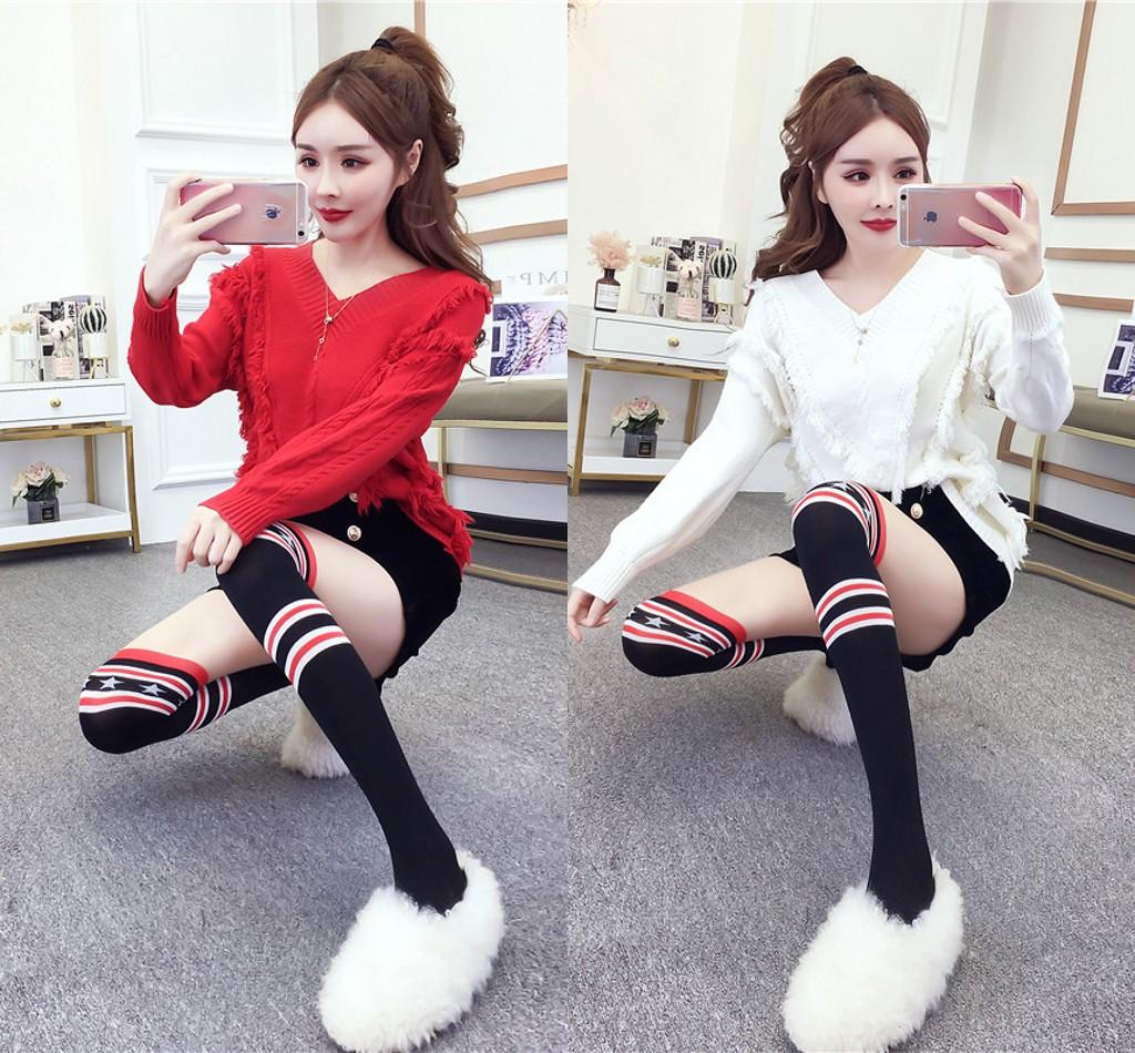 實拍新款韓版時尚甜美須須寬松毛衣+襪子+雙排扣短褲三件套