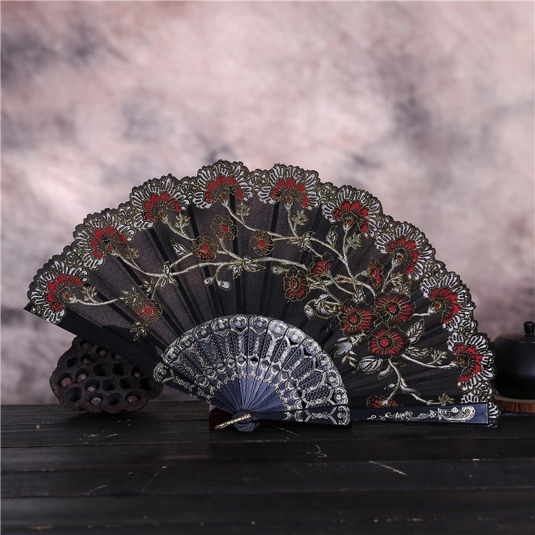 婚礼小花蕾丝花边折扇 易开合西班牙舞蹈扇子礼品新款扇装饰用扇