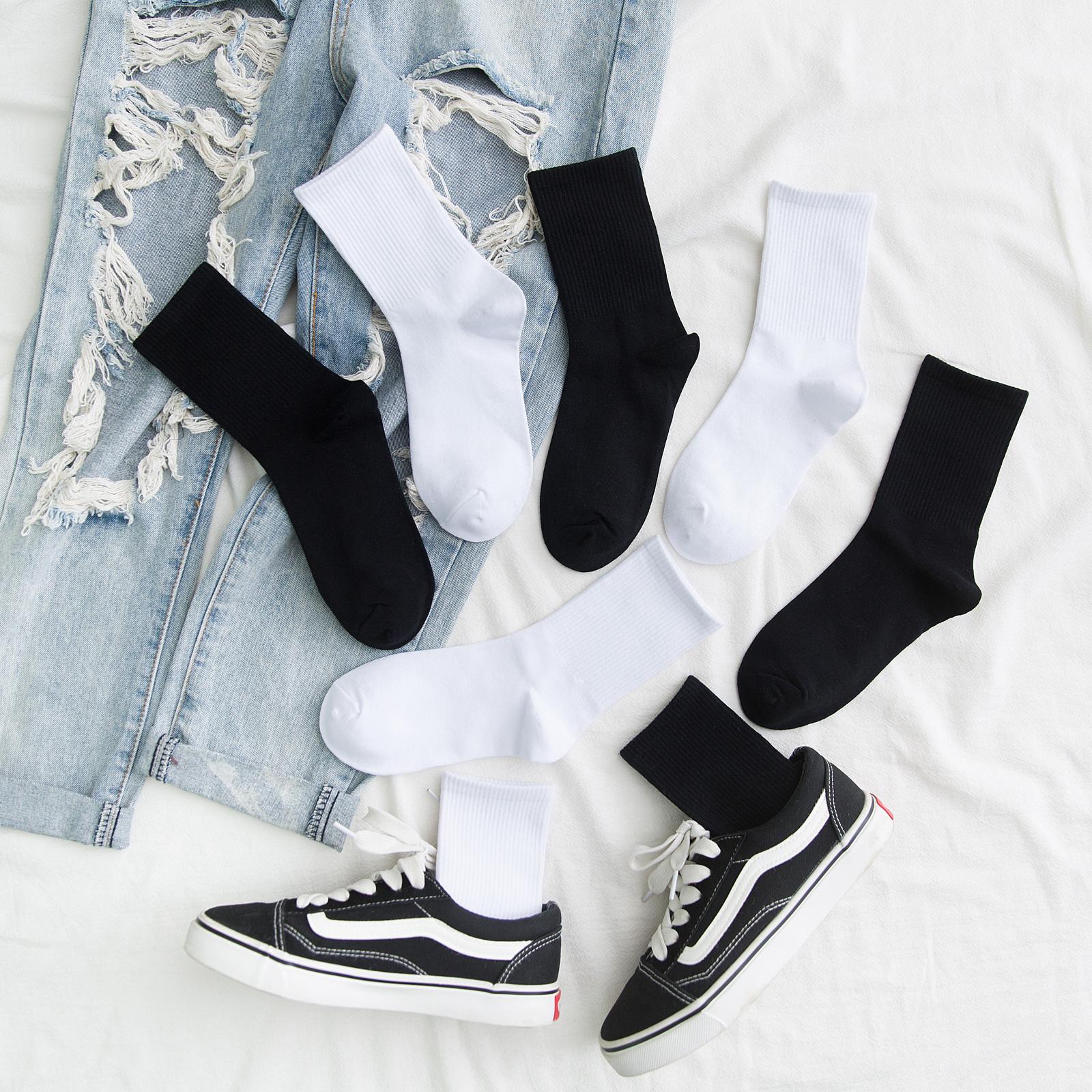 白色长袜子女中筒袜ins潮韩版ulzzang夏季薄款防臭纯黑色长筒袜男