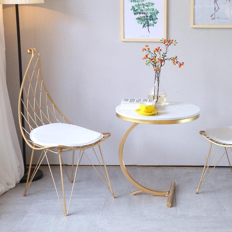 北欧创意铁艺椅子时尚圣诞帽椅餐椅 现代简约休闲椅靠背椅 网红椅
