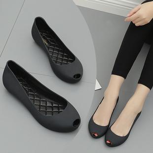 2020夏季 甜美简约橡胶雨鞋 果冻鞋 防滑防水塑胶鞋 鱼嘴果冻单鞋 新款