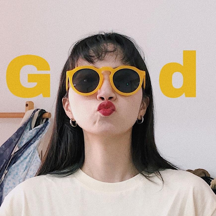 10-12新券2019新款潮女拍照眼镜个性ins复古风墨镜韩版网红沙雕黄色太阳镜