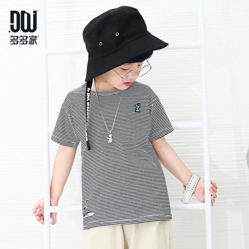 多多家童装男童韩版男宝宝半袖t恤2018夏季新款黑白条纹短袖体恤