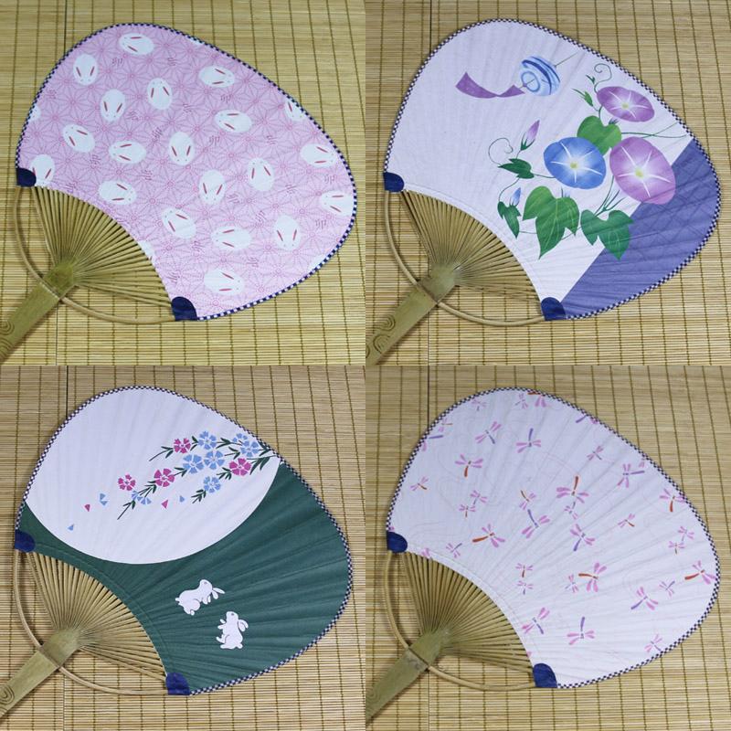 2018夏季和风扇子团扇日本纸扇竹扇樱花祭金鱼兔子扇满30元包邮