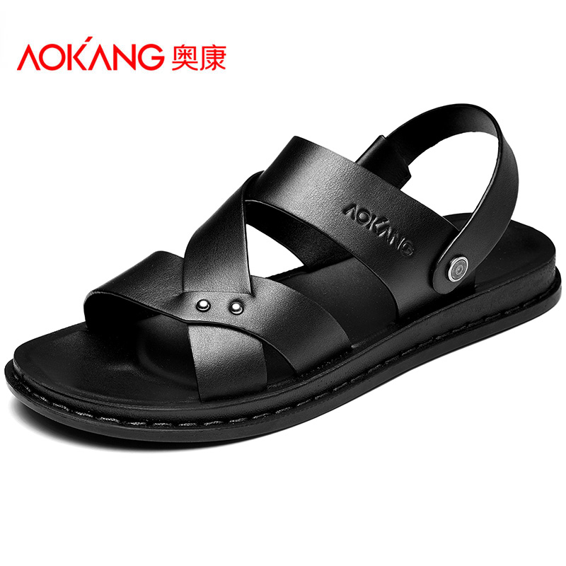 Aokang sandals men's leisure 2020 new summer soft sole dual purpose sandals tide shoes leather beach shoes sandals sandals