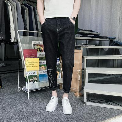 K27#春夏男士修身人物印花直筒小脚裤 九分牛仔裤 P70