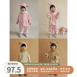 幼悠儿童套装冬季加厚款女童松松家居服加绒宝宝迪士尼两件套保暖