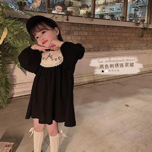 幼悠 女童連衣裙春秋裝新款裙子寶寶宮廷風兒童洋氣刺繡公主裙潮