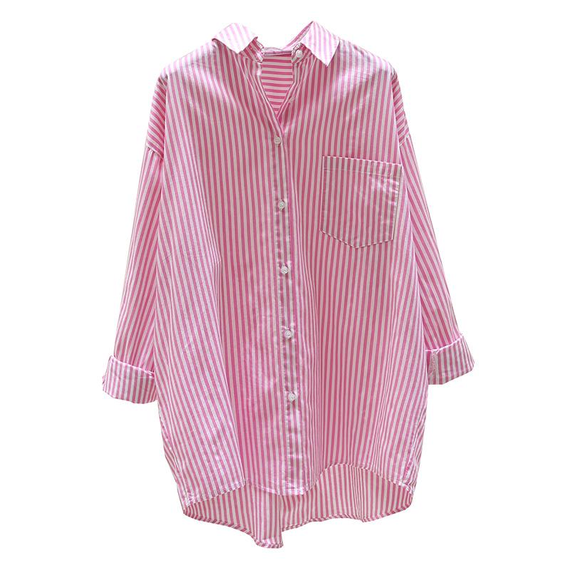 长款花衬衫如何搭配:长款粉色衬衫搭配