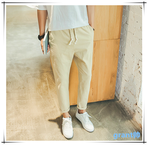 Stylish linen Japanese summer casual pants ankle-length pants