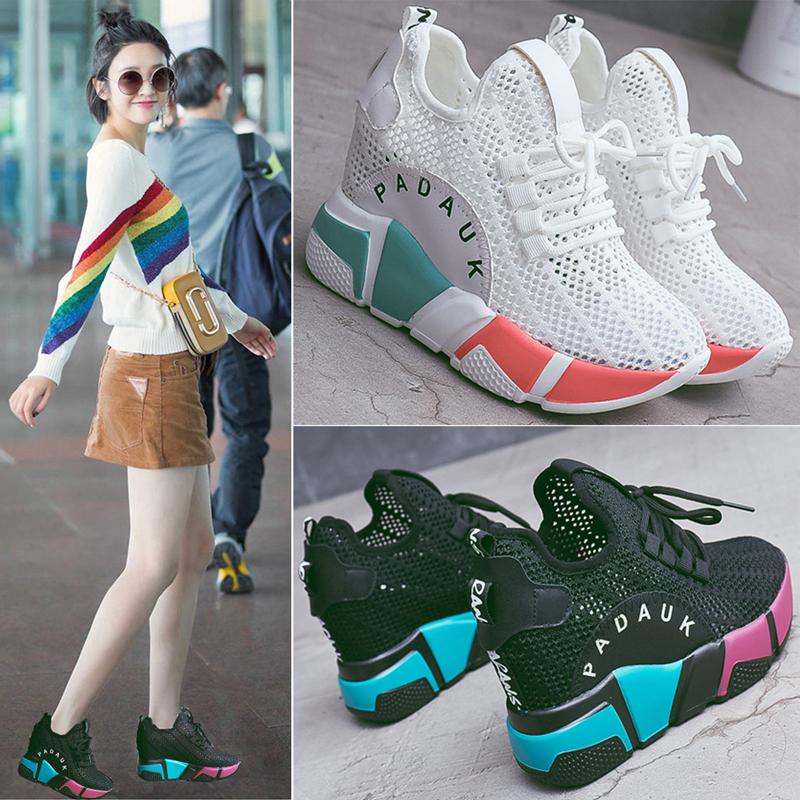 内增高女鞋2019春夏新款韩版ulzzang原宿厚底坡跟镂空透气运动鞋