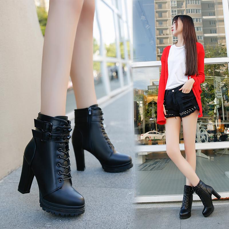 加绒女靴粗跟马丁靴高跟短靴2018新款秋冬季女鞋英伦风靴子棉鞋子