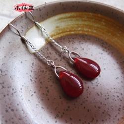 天然玛瑙耳环水晶耳坠纯银925长款红水滴时尚简约气质女翡翠耳环