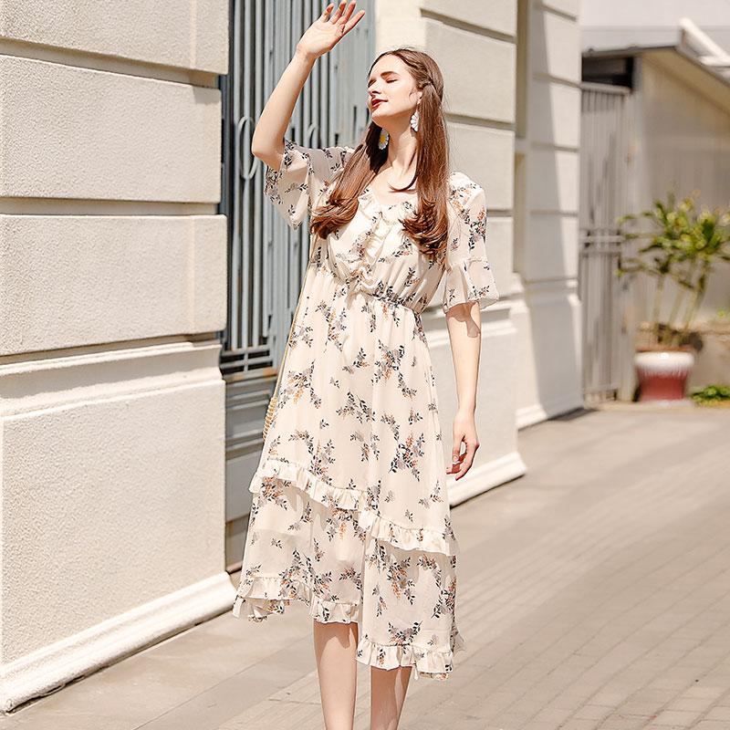 大码女装胖妹妹mm2019夏装新款减龄碎花雪纺连衣裙遮肚显瘦裙子仙