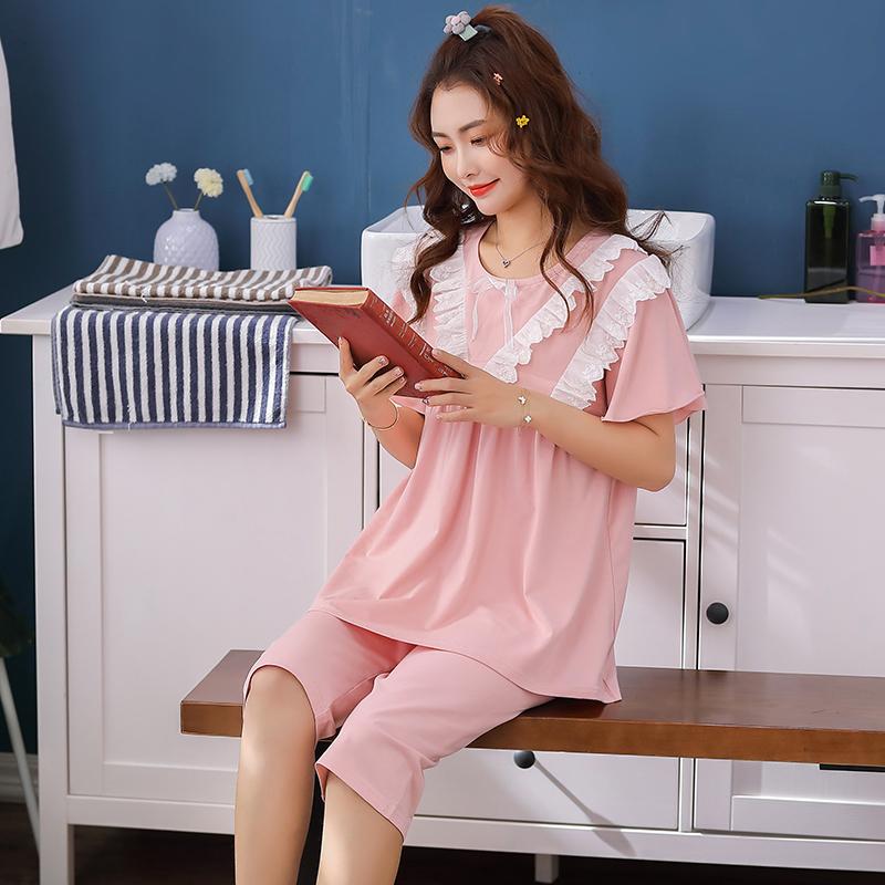 夏季短袖薄款纯棉月子服夏天孕妇睡衣怀孕期产后哺乳喂奶家居套装                                             去淘宝购买