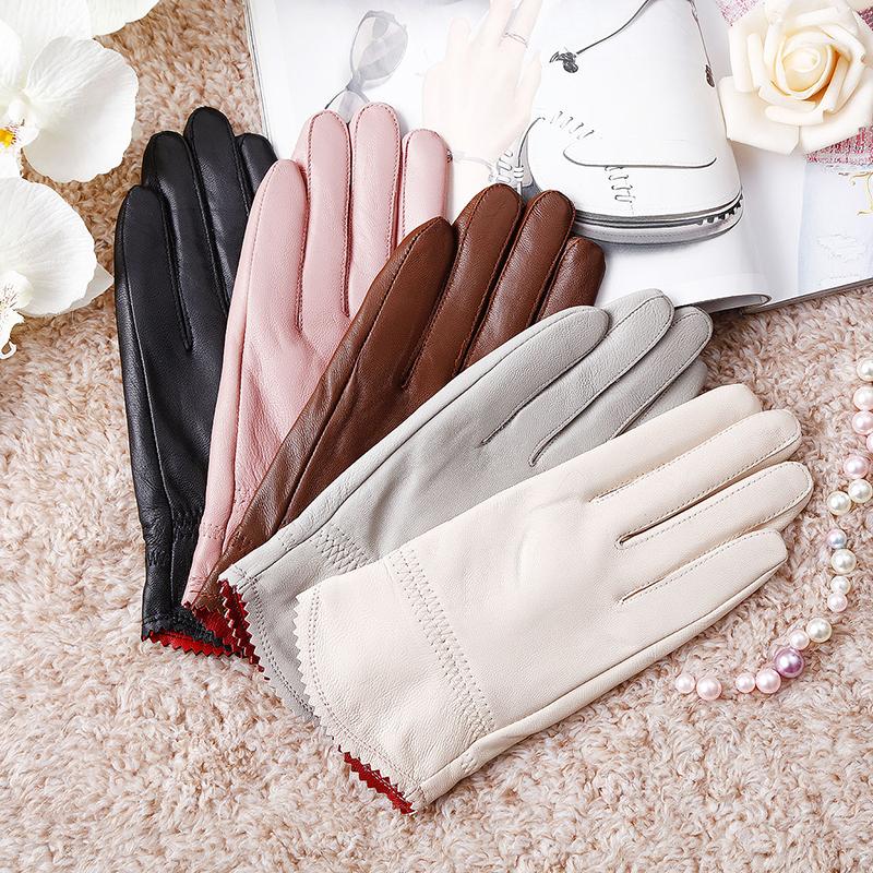 2020冬季开车保暖手套女士真皮手套女薄款海宁绵羊女式皮手套加棉