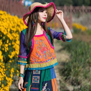 2020春夏季新款原創設計民族風復古刺繡拼色雪紡襯衫中袖防曬上衣