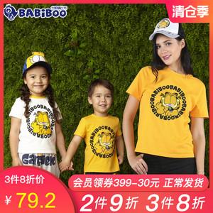 BABiBOO加菲猫亲子装一家三口母女装2019新款四口洋气儿童短袖T恤
