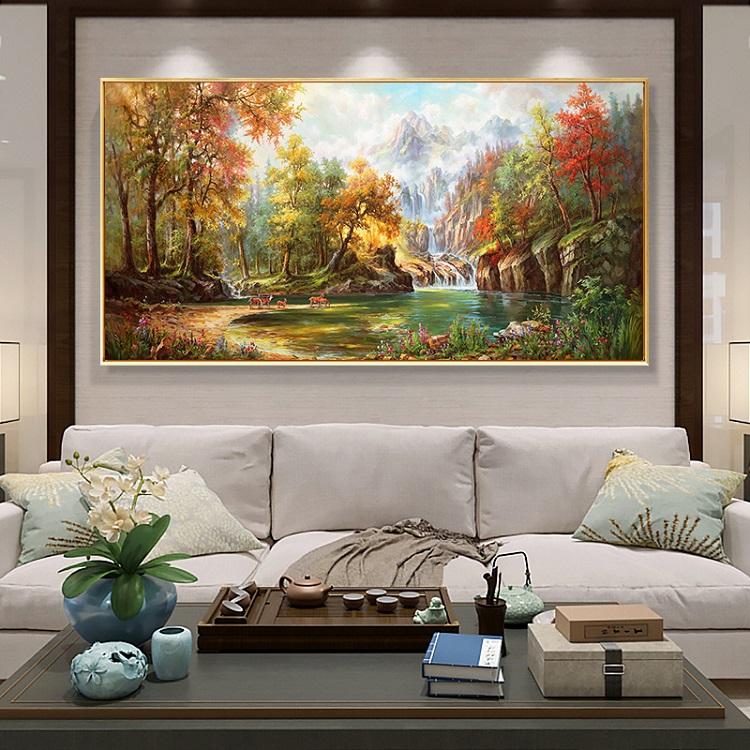 欧式风景手绘油画山水瀑布五只鹿瀑布中式客厅沙发背景美式装饰画图片