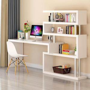 拐角书架和书柜台式带学生电脑桌