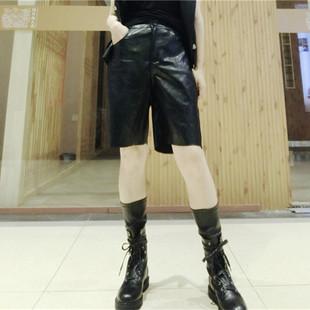 皮褲五分褲女直筒港味潮ins日系秋季新款寬鬆百搭顯瘦洋氣pu褲子