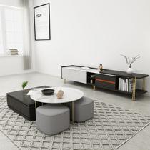 北歐輕奢大理石茶幾電視柜組合套裝現代簡約客廳多功能伸縮地柜