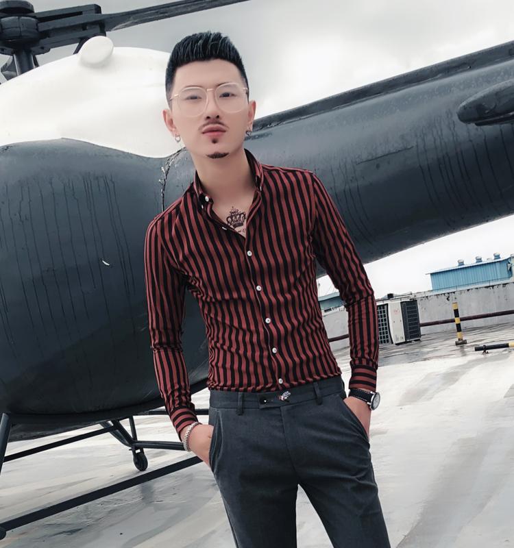 秋季衬衫男士长袖韩版修身青年网红同款潮流衣服休闲条纹衬衣夜场