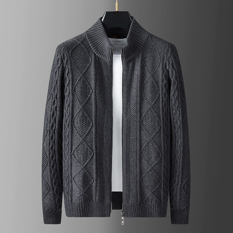 High quality mens thick needle high gram heavy wool jacket autumn winter thickened warm stand collar knitted sweater coat