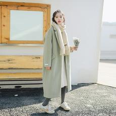 2020冬新款森系文艺羊绒加厚豆绿色中长款学生流行毛呢外套大衣女