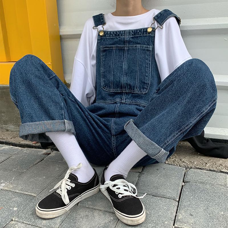 2020春夏装日系复古明线工装牛仔背带裤女阔腿宽松显瘦连体长裤潮