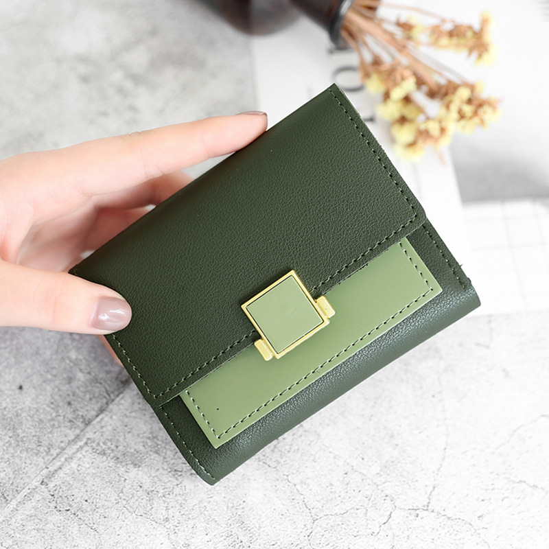 Womens 3-fold square metal decorative buckle two-color horizontal style European and American young Student Wallet 2021 new product