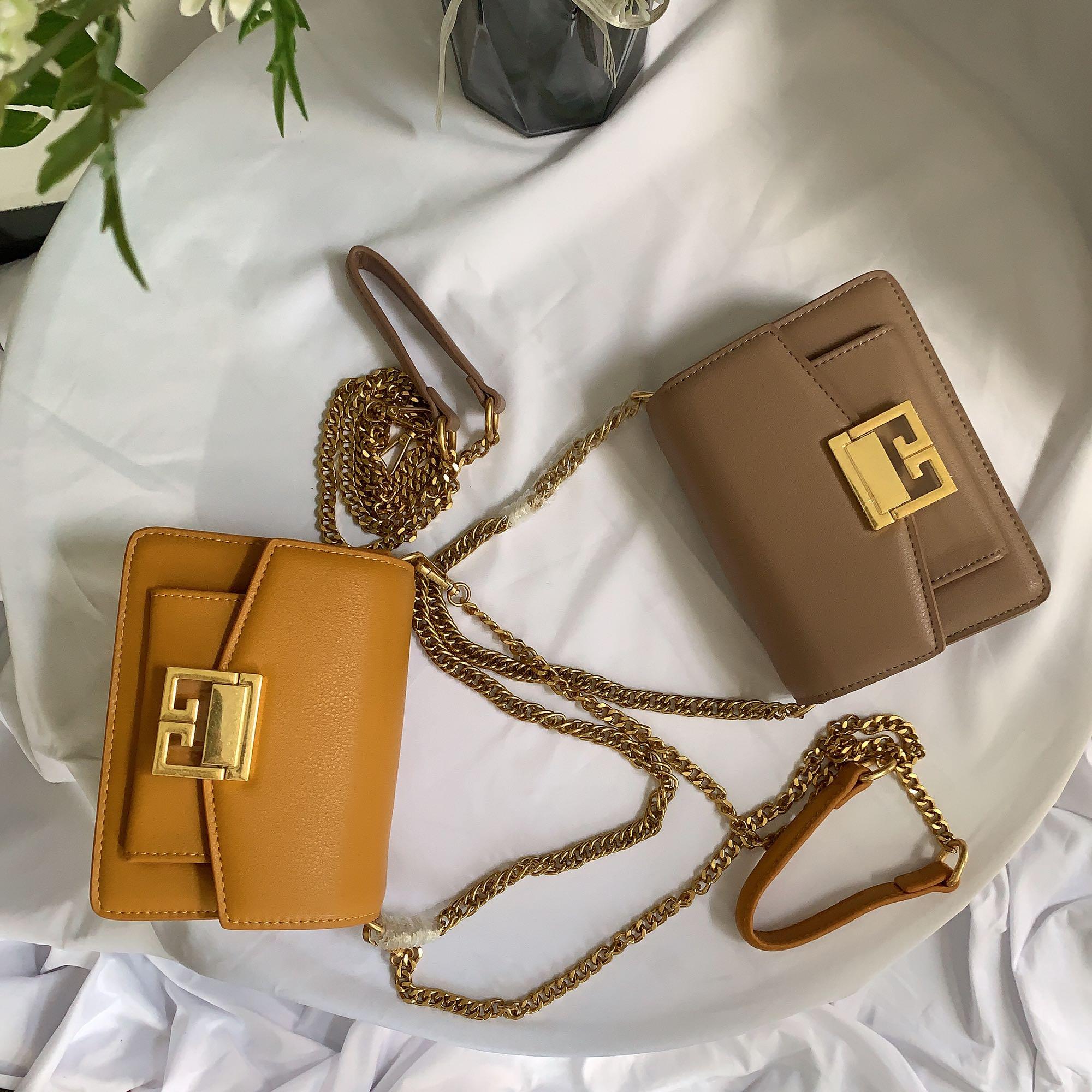 Womens bag 2020 new popular fashion retro simple one shoulder messenger bag chain bag leisure saddle bag