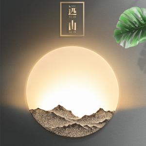 中式壁灯卧室床头灯创意客厅壁灯背景墙LED灯现代简约过道楼梯灯