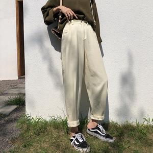 A7seven 白色哈伦裤秋季2020新款宽松显瘦休闲九