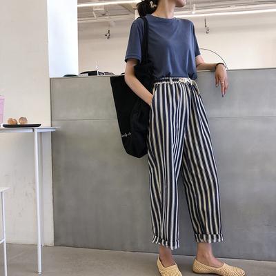 A7seven 萝卜裤女夏季2018新款宽松显瘦竖条纹九分休闲哈伦裤子潮 拍下89元包邮