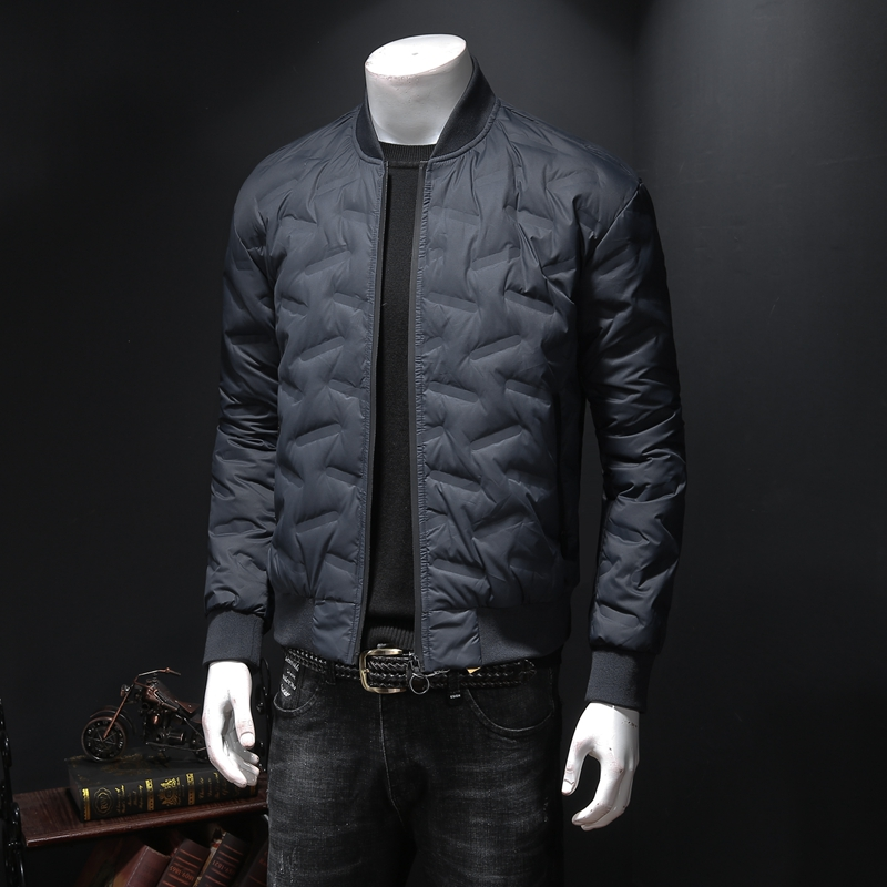 2020 mens baseball uniform stand collar jacket jacket spring and autumn lightweight short down jacket youth fattening up size trend