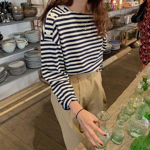 韩国chic秋季简约百搭条纹宽松插肩袖大纽扣设计休闲长袖T恤上衣