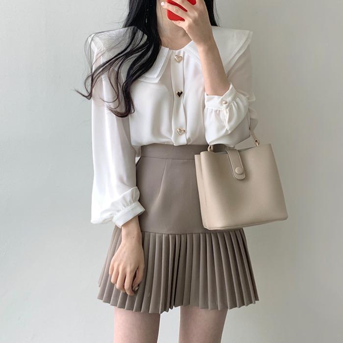 春装复古法式小众设计感娃娃领叠穿雪纺上衣jk衬衫女+百褶半身裙
