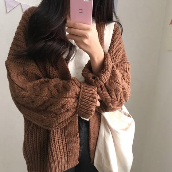 秋冬女装chic新款韩版百搭bf宽松长袖麻花针织开衫女学生毛衣外套