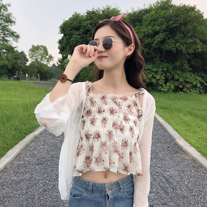 夏季新款韩版小清新修身百搭短款碎花吊带+长袖雪纺衫防晒衣外套