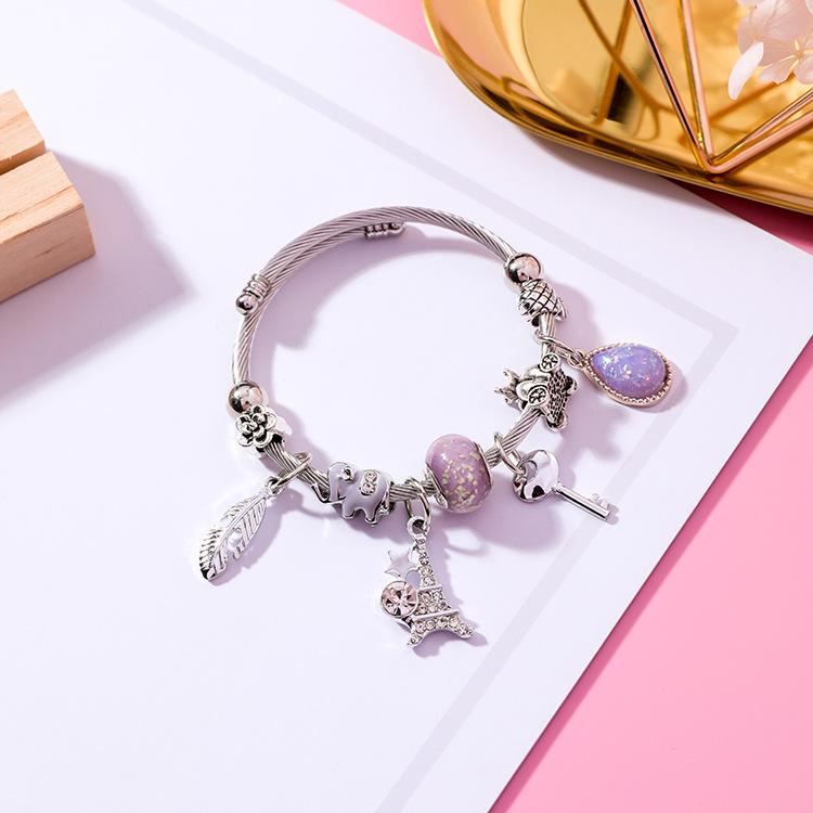 日韩羽毛铁塔可调节手环水晶DIY不锈钢手镯民族风钥匙串珠手链女
