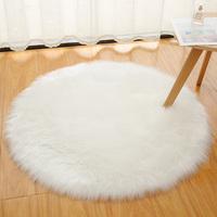 查看白色长毛绒圆形地毯北欧卧室吊篮化妆梳妆台地垫电脑椅子仿羊毛毯价格