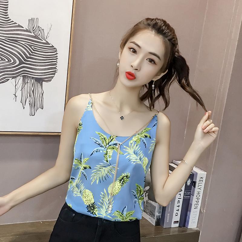 京�|�物商城2018新款春�b蘑菇街淘��美搭夏装百搭女装树叶吊带背