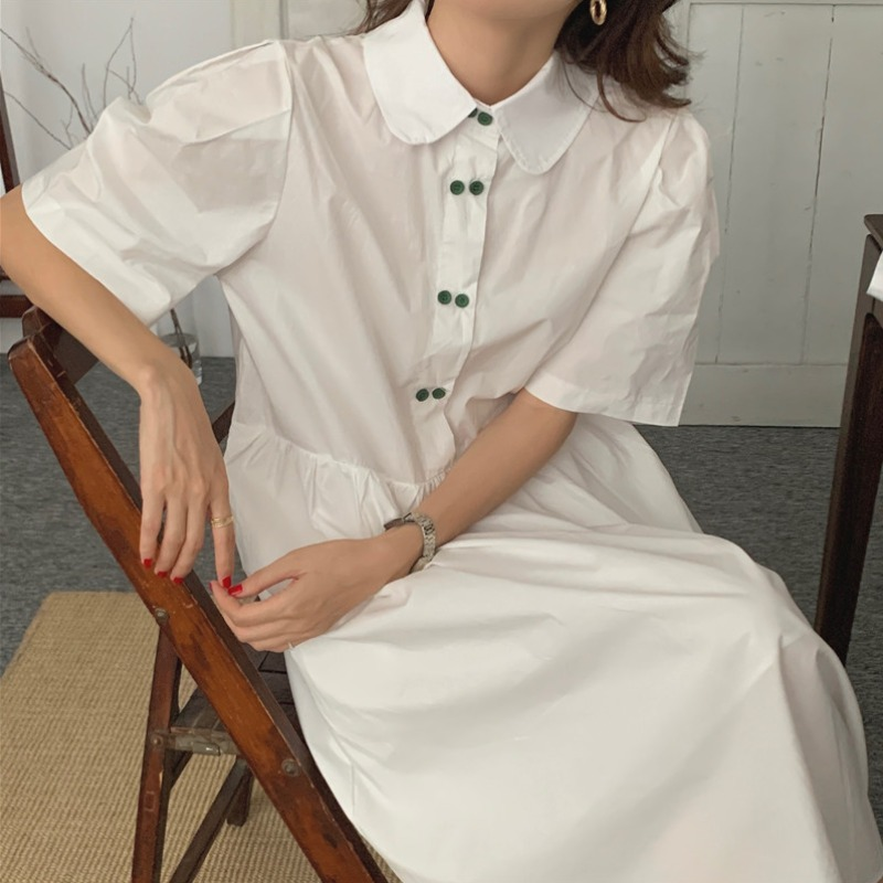 Korean chic summer fresh age reduction double breasted contrast button embellishment loose shirt dress with bag