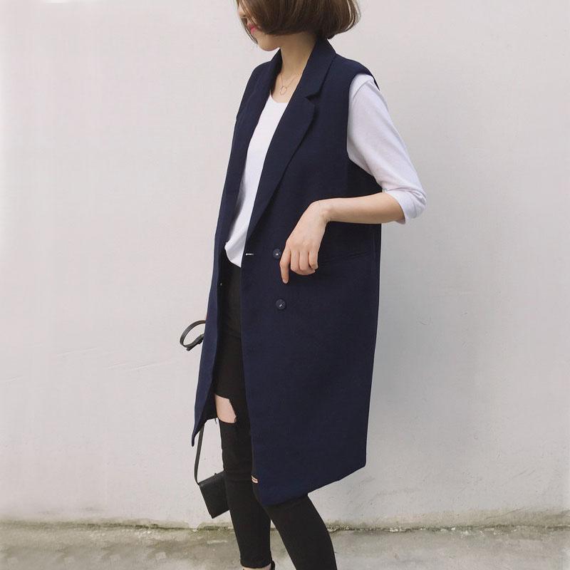 2020春秋季中长款马夹韩版女装黑色修身背心西装大码马甲外套女