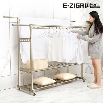 晾衣架落地折叠室内双杆家用凉衣架阳台户外晒衣架卧室移动挂衣架