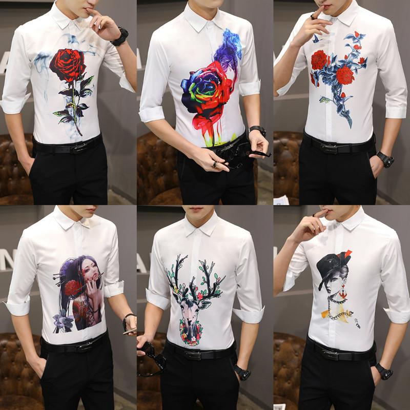 2018夏季男士七分袖图案衬衫修身韩版玫瑰花印花中袖休闲短袖衬衣