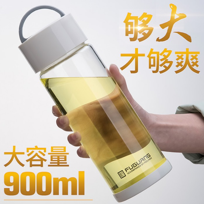 富光超大容量玻璃杯900-1000ml便携耐热单层泡茶杯子1L特大号水杯
