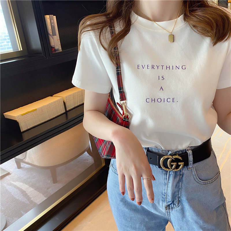 纯棉白色短袖夏季2021年新款t恤
