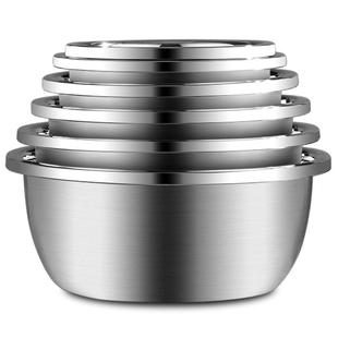 加厚304食品級不鏽鋼盆套裝廚房家用打蛋盆和麪盆洗菜盆漏盆湯盆